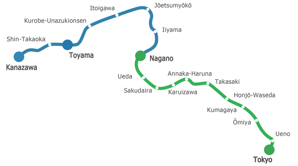 新幹線路線図 北陸新幹線